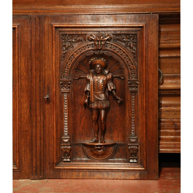Baroque Pair of 19th Century French Henri II Carved Oak Doors With High Relief Carvings For Sale - Image 3 of 8