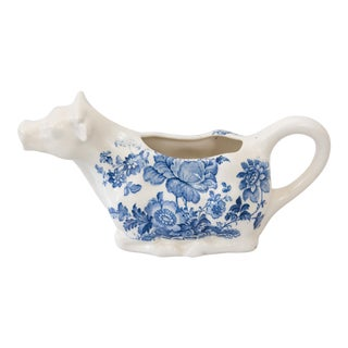 English Ironstone Blue & White Cow Creamer
