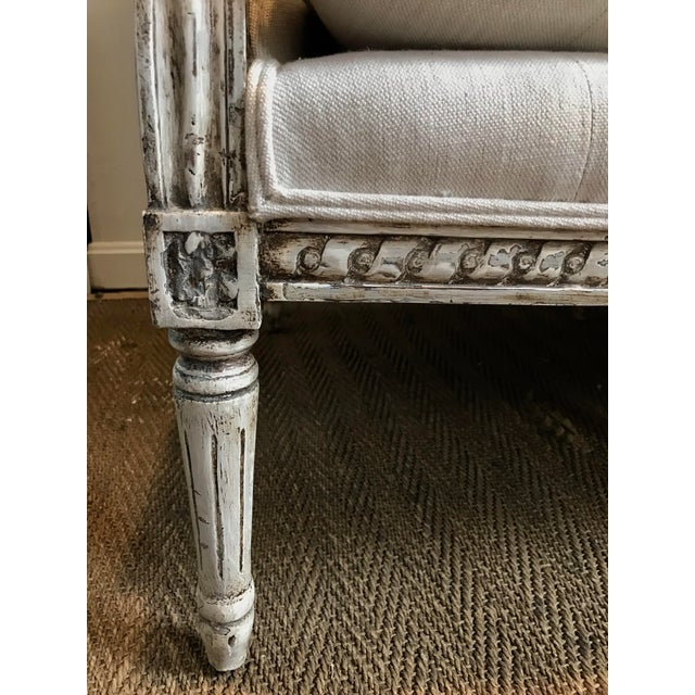 French Louis XVI Style Settee in Gustavian Paint and Linen For Sale - Image 10 of 12