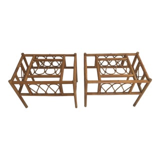 Vintage Bent Bamboo and Wicker Side Tables - a Pair For Sale