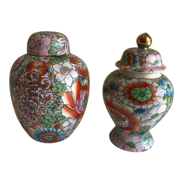 Chinoiserie Ceramic Ginger Jars - A Pair - Image 1 of 8