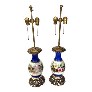 19th Century Hand-Painted Blue Floral Lamps With Bronze Mounts - a Pair For Sale