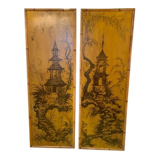 Vintage Chinoiserie Bamboo Framed Panels - a Pair For Sale
