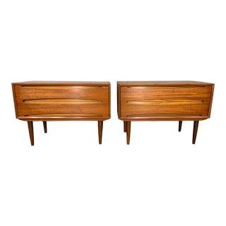 1960s Vintage MidCentury Danish Modern Teak Nightstands-a Pair For Sale
