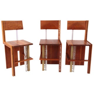 Three Cherry Bronze and Lucite Barstools For Sale