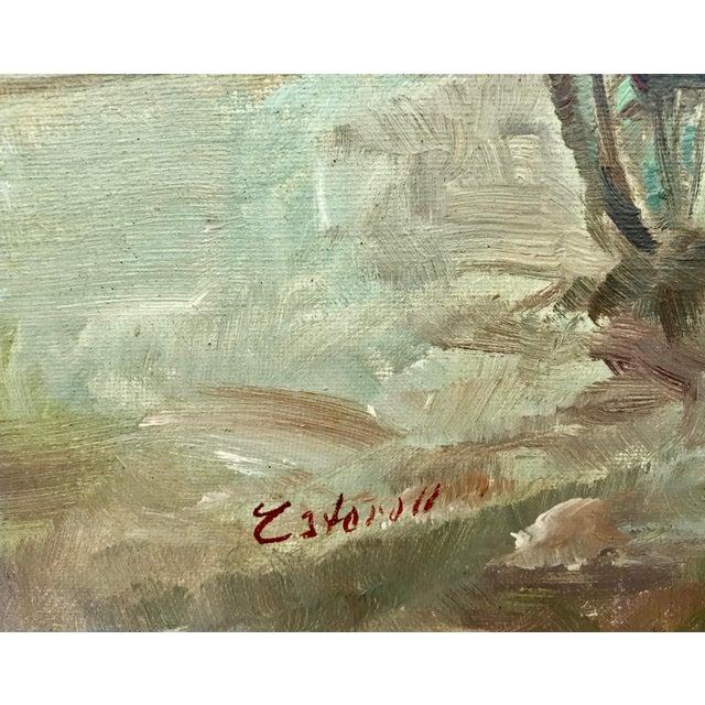 Canvas 1950s Vintage Pastel Paris City Scene Painting For Sale - Image 7 of 8