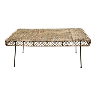 1950s Mid Century Wicker and Iron Cocktail Table by Danny Ho Fong For Sale
