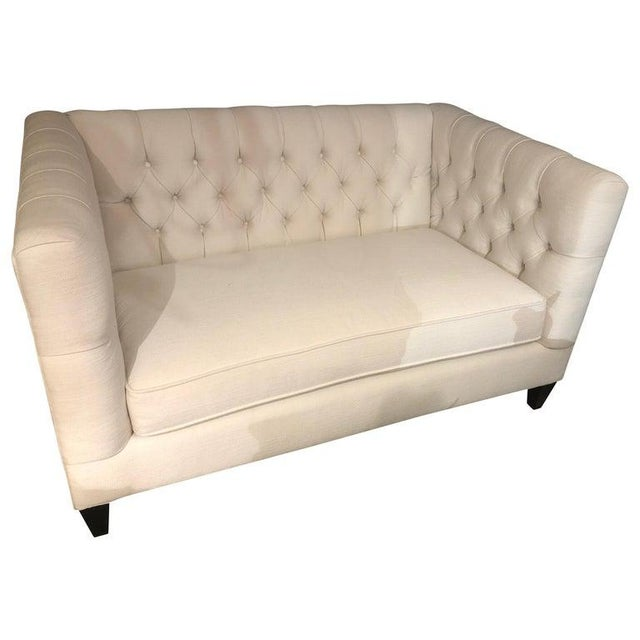 Bernhardt White Tufted Box Shaped Loveseat For Sale - Image 9 of 9