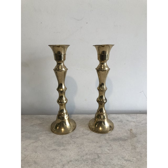 Brass Early 20th Century Brass Candlesticks - a Pair For Sale - Image 8 of 8