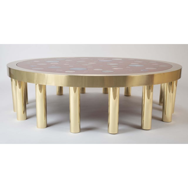 Large Agate Inlaid Sapelle and Brass Coffee Table For Sale - Image 12 of 12