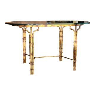 Faux Metal Bamboo Gilt Finish Dining Table