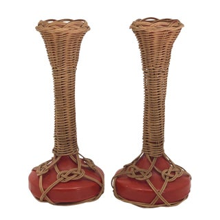 Vintage Wicker and Orange Painted Glass Candlestick Holders - a Pair For Sale