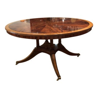"1990s Banded Flame Mahogany Wood 60"" Round Dining Table"
