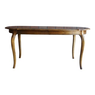 1990s French Country Ethan Allen Oval Extension Dining Table For Sale