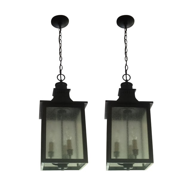 3-Light Hanging Lantern Chandeliers - A Pair - Image 1 of 5