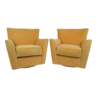 Vintage Mid Century Vladimir Kagan Style Yellow Ultra-Suede Wing Back Swivel Chairs- A Pair For Sale