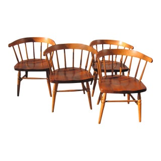 Early 20th Century Heywood Wakefield Barrel Back Chairs From the John Heywood Trust House - Set of 4 For Sale