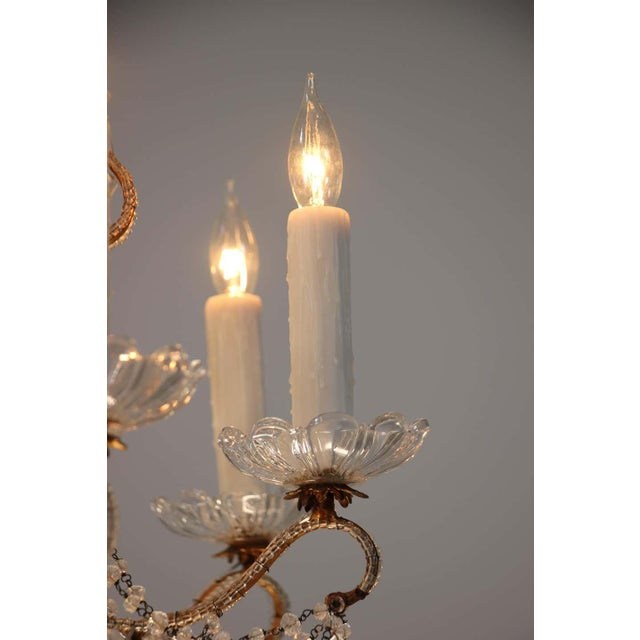 1940s 1940s Italian Crystal Beaded Chandelier For Sale - Image 5 of 9