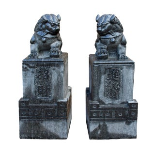 Chinese Gray Stone Fengshui Pedestal Foo Dog Statues - A Pair For Sale