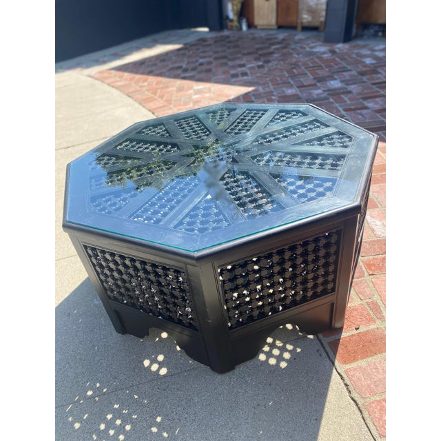 Refurbished Vintage Moroccan Octagonal Coffee Table With Glass Top For Sale - Image 4 of 8