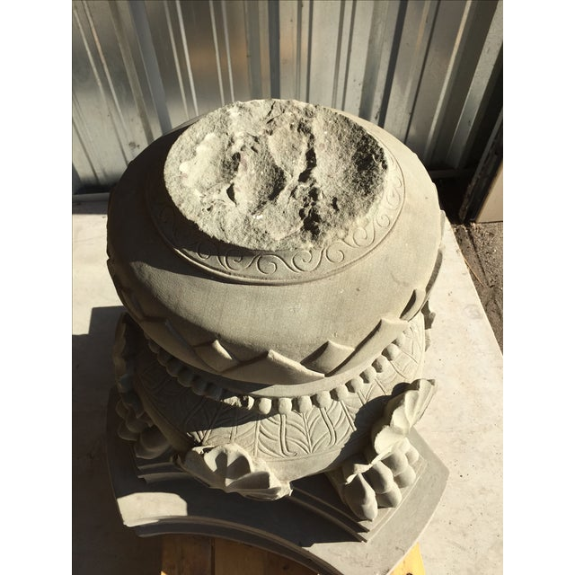 Carved Stone Claw Foot Pillar Base - Image 5 of 9