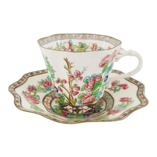 Antique Fine English Bone China Cup & Saucer For Sale