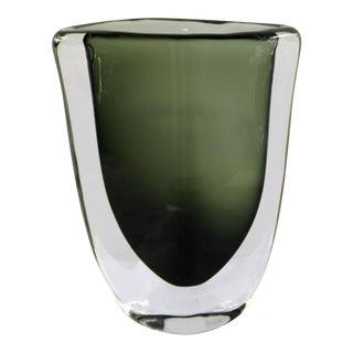 Orrefors Sommerso Vase by Nils Landberg Dusk Series Signed Smoke Gray Green For Sale