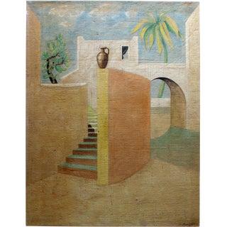 Contemporary Jacques Lamy De Chirico Style Mediterranean Landscape Painting For Sale