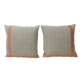 Pair of Vintage Woven Swedish Decorative Pillows With Ribbon Accents For Sale