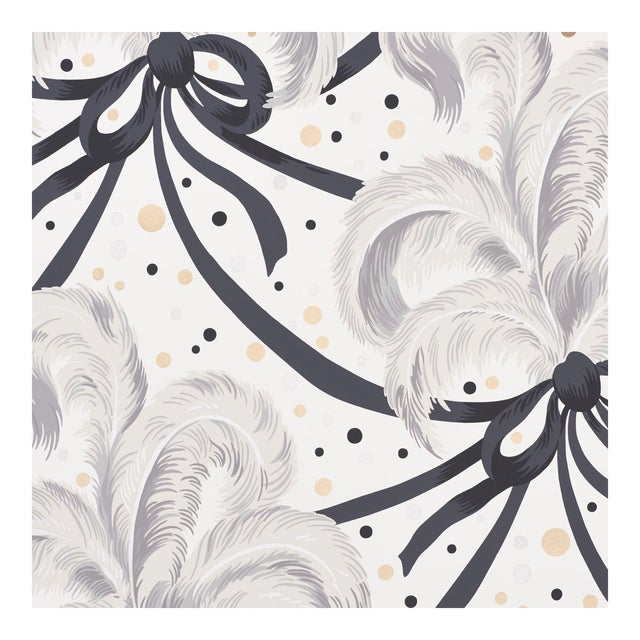 Sample - Schumacher X Paul Poiret Plumes Et Rubans Wallpaper in Champagne For Sale