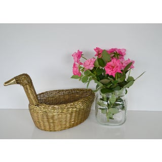 1980s Cottage Woven Brass Duck Basket Preview