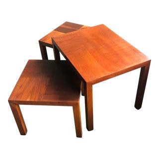 1970s Mid-Century Lane Altavista Virginia Wooden Nesting Tables - Set of 3 For Sale