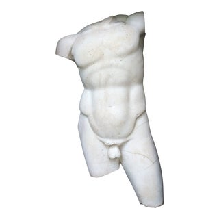 1980s Vintage Plaster Male Torso Statue For Sale