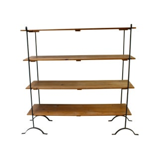 French Country Farmhouse Wood Iron Display Shelves For Sale