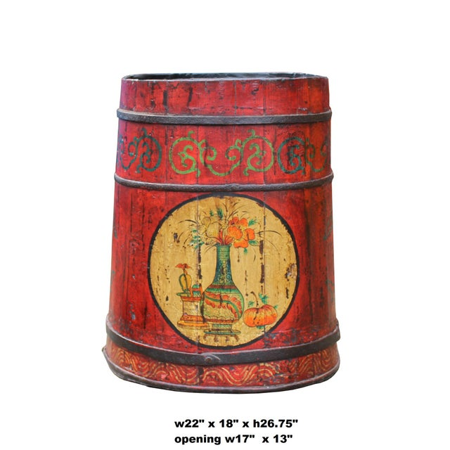1990s Distressed Chinese Tibetan Barrel Shape Red Floral Bucket Wood Container For Sale - Image 5 of 9
