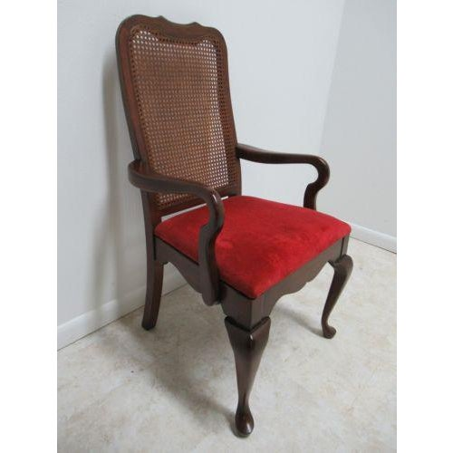 Vintage Thomasville Solid Cherry Queen Anne Caned Chair For Sale - Image 11 of 11