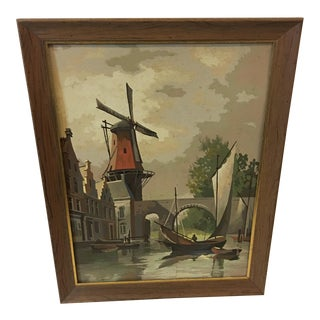 1960s Vintage Paint by Numbers Dutch Scene Painting For Sale