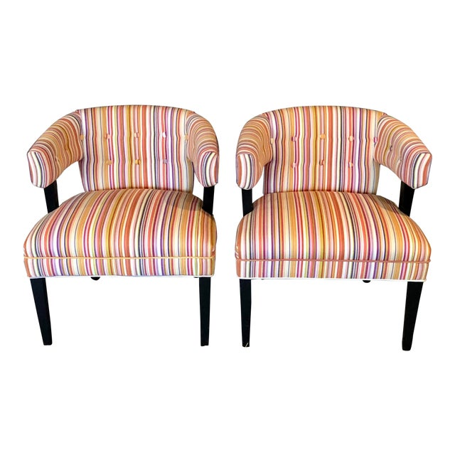 Boho Chic Colorful Striped Barrel Chairs - a Pair For Sale
