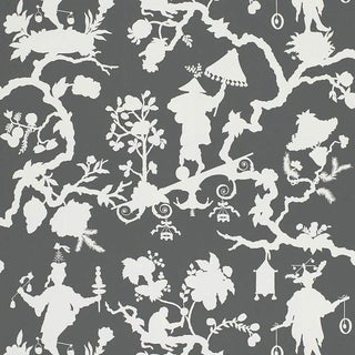 Schumacher Shantung Silhouette Print Wallpaper in Smoke For Sale