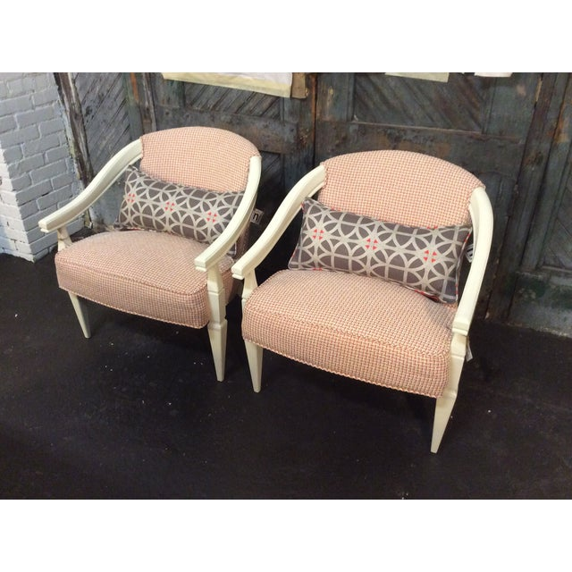 Orange and Ivory CustomUpholstered Chairs - A Pair - Image 2 of 6