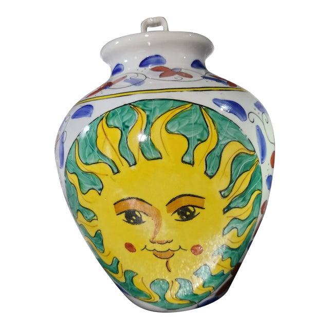 Vintage Sunburst Ceramic Ginger Jar For Sale