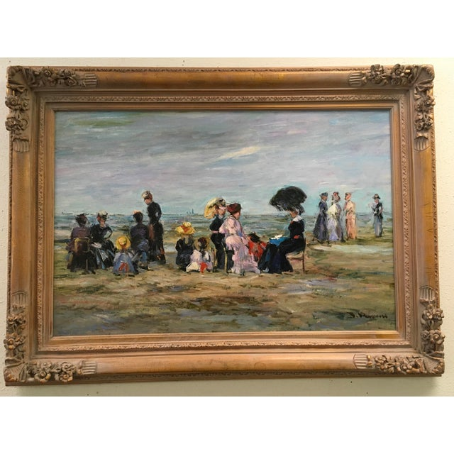 "Jacques Deveau ""Beach Scene"" Oil on Canvas Painting - Image 2 of 5"