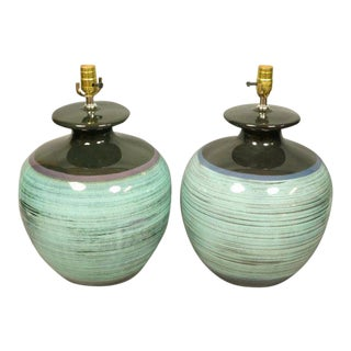 Turquoise Bulbous Pottery Lamps - A Pair For Sale