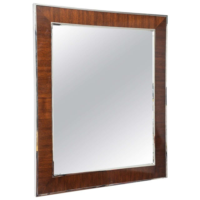 Karl Springer Style Mirror with Polished Chrome and Mahogany Frame, 1980s - Image 10 of 10
