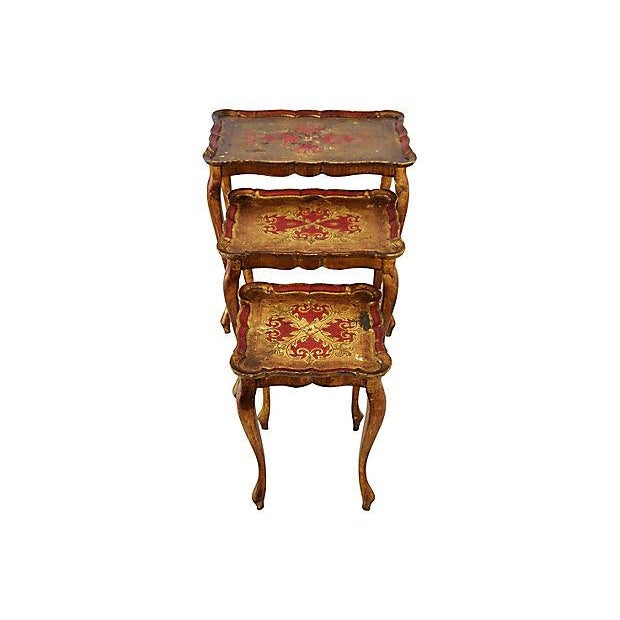 1950s Italian Venetian Florentine Nesting Tables - Set of Three For Sale - Image 13 of 13
