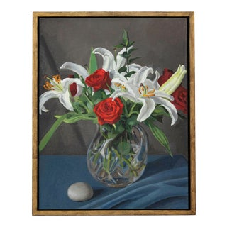 """""""Red Roses and White Lilies"""" Contemporary Floral Still Life Oil Painting, Framed For Sale"""