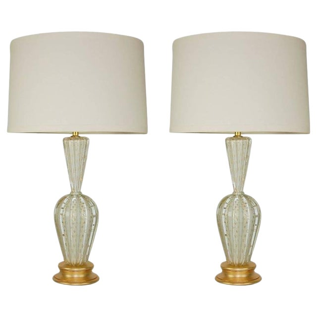 Vintage Murano Glass Table Lamps White Bubbles For Sale
