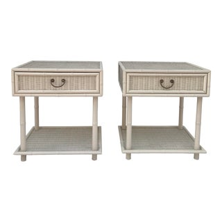 Vintage Wicker and Faux Bamboo Chinoiserie Nightstands - a Pair For Sale
