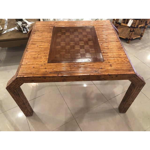 Vintage Hollywood Regency Palm Beach Flat Reed Bamboo Rattan Game Dining Table For Sale In West Palm - Image 6 of 13