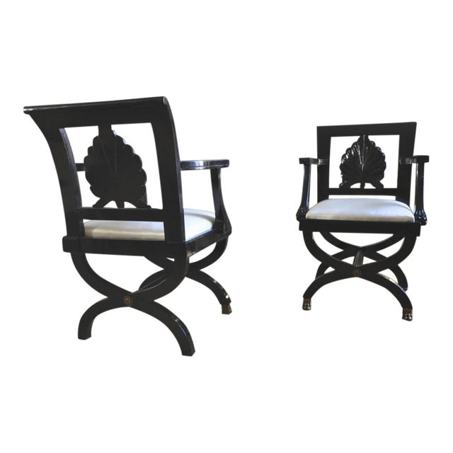 Maison Jansen Chicest Black Neoclassic Exceptional Pair of Armchairs For Sale